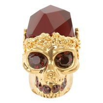 Gold Ruby Stone Skull Cocktail Ring- ALEXANDER MCQUEEN