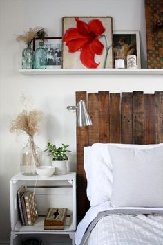 I like the shelf above the bed! 40 Recycled DIY Pallet Headboard Ideas | 99 Pallets