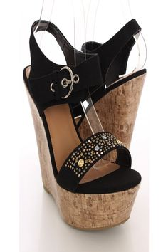 Slip+into+these+adorable+wedges+with+your+next+lovely+outfit!+Make+sure+to+add+these+to+your+collection,+it+definitely+is+a+must+have!+The+features+include+a+canvas+fabric+upper+with+a+thick+ankle+strap+and+side+buckle+closure,+strap+vamp+with+studded+detailing,+cork+platform+wedge,+open+toe,+smooth+lining,+and+cushioned+footbed.+Approximately+5+1/2+inch+wedge+heels+and+2+inch+platforms.