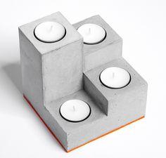 """Kerzen & Beleuchtung - Beton Kerzenständer """"Stufen"""", Designobjekt - ein Designerstück von D-Kraehmer bei DaWanda"""
