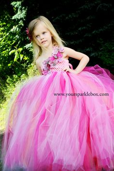 Glitter Flower Tutu Dress in pink berry and by YourSparkleBox