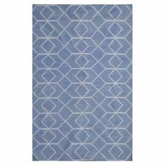 "Create a captivating focal point in your home with this lovely woven wool rug, featuring an eye-catching geometric motif in blue and ivory.   Product: RugConstruction Material: WoolColor: Blue and ivoryFeatures:  Flatwoven0.25"" Pile heightHandmade Note: Please be aware that actual colors may vary from those shown on your screen. Accent rugs may also not show the entire pattern that the corresponding area rugs have.Cleaning and Care: Professonal cleaning recommended"