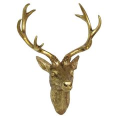 Inspired by classic hunting lodge style, this gold-finished wall decor features a deer head silhouette. Let it serve as a unique holder for jewelry and scarv...