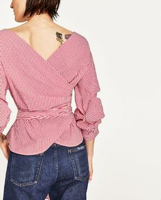 Image 2 of STRIPED BLOUSE WITH PLEATED SLEEVES AND BOW BELT from Zara