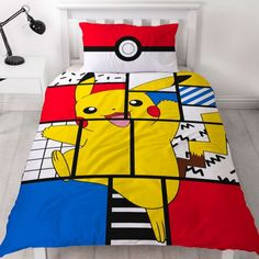 This Pokémon Memphis Single Duvet Cover and Pillowcase Set features Pikachu on the front and Pokéballs on the reverse. Free UK delivery available Pikachu, Puzzle Shop, Memphis Design, Single Duvet Cover, Duvet Cover Sizes, Bedding Sets Online, Childrens Beds, Bedroom Accessories, At Home Store