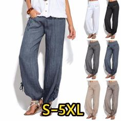 2ed0f3da2775b Women Plus Size Fashion Casual Loose Buttons Trousers Solid Color Pants