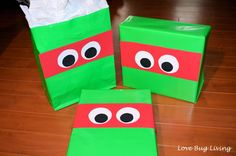 TMNT gift wrapping idea.  Great for Teenage Mutant Ninja Turtle party