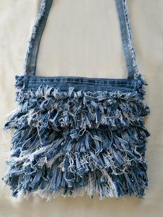 Denim Purse Recycled Denim Fringe Purse Blue Jean by MissThread