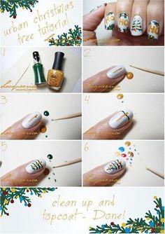 Christmas Nails Design Tutorial, Christmas Tree Nails Art Tutorial for Fashion Girls  #tutorial #nail #christmas www.loveitsomuch.com