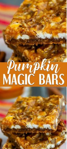 Pumpkin Magic Bars is a 7 layer bar you can make with pumpkin puree! An easy magic bar recipe made with gingersnap crust, white chocolate, coconut and lots of pumpkin. Wow your family with this easy fall recipe! Pumpkin Puree Recipes, Pureed Food Recipes, Easy Canned Pumpkin Recipes, Easy Pumpkin Bars, Pumpkin Cookie Recipe, Healthy Pumpkin, 7 Layer Bars, Magic Bars, Recipes