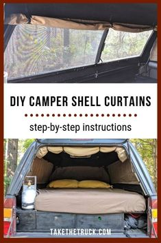 Trying to figure out the best diy camper shell curtains for your truck camper? This post details exactly how to make roll-up camper shell curtains to spruce up your truck shell camper interior. Tons of pictures and detailed instructions! Truck Topper Camping, Truck Cap Camping, Truck Toppers, Diy Camping, Camping Hammock, Kayak Camping, Camping List, Winter Camping, Camping Stuff