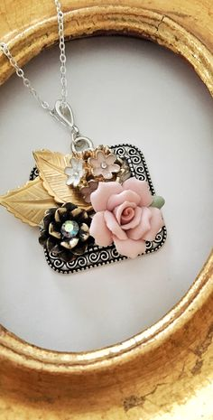 Sweet romantic jewelry, vintage assemblage for someone you love dearly.  https://www.etsy.com/listing/554948426/silver-necklace-vintage-assemblage