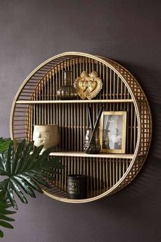 Round Bamboo Two-Tier Shelf Unit from Rockett St George Bamboo Shelf, Bamboo Wall, Living Room Furniture, Home Furniture, Trendy Furniture, Vintage Shelving, Hallway Shelf, Round Shelf, Picture Shelves