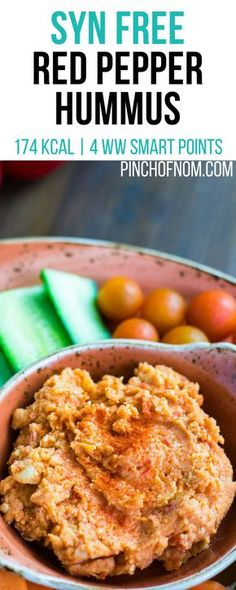 Syn Free Red Pepper Hummus | Pinch Of Nom Slimming World Recipes 174 kcal | Syn Free | 4 Weight Watchers Smart Points