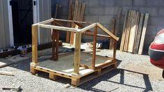upcycled pallet dog house frame with veranda