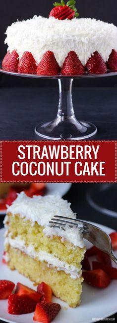 ... light, coconut cake with creamy frosting and a sweet strawberry sauce