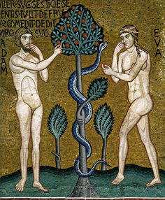 Adam and Eve mosaic from the nave of the Cappella Palatina - 12th century - Palazzo Reale - Sicily - Italy