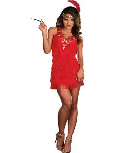 PIN10 for 10% off! Flapper Adult Halloween Costume - Red Fringe - Dreamgirl
