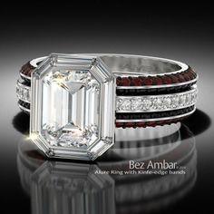 Bez Ambar's Alure Ring with a baguette diamond frame and two knife-edge bands #diamondjewelry www.bezambar.com
