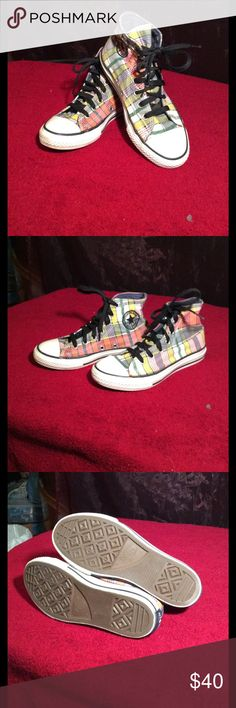 Converse all stars price is firm Like new kids plaid high tops with blue denim trim really nice Converse Shoes Sneakers