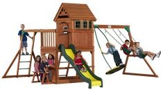 Montpelier  A great playset with upper clubhouse, 8' slide, swings, wave rider boogie board swing