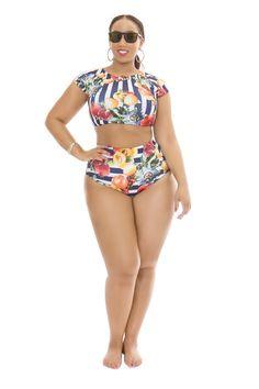 The Curvy Fashionista | Rue 107 CUrves Malinda Marmalade Fruit Stripe Bikini