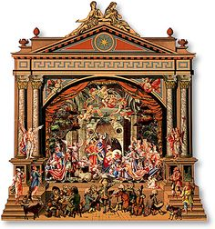 """The toy theater proscenium that houses the Orchestra Nativity — with figures from """"Christmas in Tyrol,"""" a museum facsimile, published by Grand Angle — is also found in Peter Baldwin's Toy Theatres of the World."""