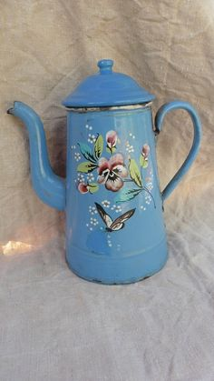 French Vintage , French Enamelware ,French Coffee Pot, Blue Enamelware ,Butterflies ,Pansies, Flowers Shabby Cuisine.