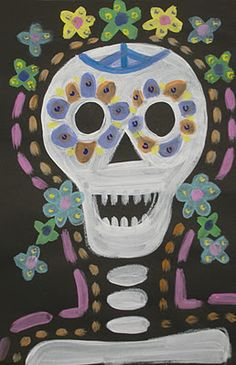 Day of the dead lesson I will be doing this week. Super easy and fun!