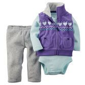 She's cute and cuddly in this lovable microfleece vest set. A fuzzy velboa-lined collar makes it extra cozy, too!<br>