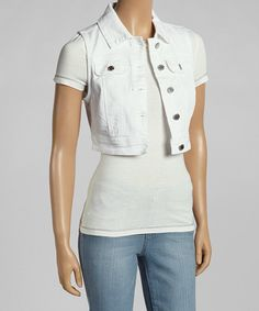 Take+a+look+at+the+YMI+White+Crop+Denim+Vest+on+#zulily+today!
