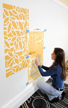 Quick and easy room transformation! Create a vignette or an allover pattern using the same simple stencil roller technique.