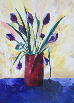 Home Decor Wall Art, original art Contemporary Canvas expressionistic palette knife Textured, Floral still life Purple Painting Title TULIPS Purple Painting, Tulip Painting, Oil Painting On Canvas, Painting Abstract, Acrylic Paintings, Original Artwork, Original Paintings, Home Decor Wall Art, Contemporary Abstract Art