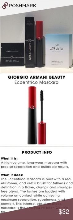 ❤️NEW!❤️GIORGIO ARMANI Eccentrico Mascara 3Pc Set ❤️NEW!❤️GIORGIO ARMANI Eccentrico Mascara 3Pc Set BNIB! Includes (1) Eccentrico Mascara in Obsidian Black Full Size 0.22oz, (1) Air Di Gio Deluxe Travel Size Sray & (1) Luminous Silk Foundation Deluxe Travel Size Packet. Eccentrico Mascara is a High Volume, Long Wear Mascara w/PrecisebSeparation & Buildable Results. BNIB! UNTOUCHED! 🚫Trades🚫Price Firm Sephora Makeup Mascara