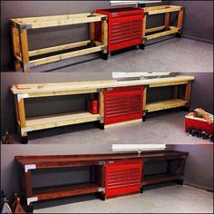 A garage workbench is a necessary tool in any house workshop. A workbench will enable you to total tasks easily and with greater precision. Garage Shed, Garage Tools, Garage House, Garage Plans, Garage Workbench, Workbench Ideas, Barn Plans, Diy Garage Work Bench, Rolling Workbench