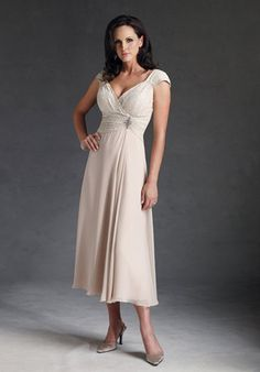 A-Line V-Neck Tea Length Chiffon and Lace Mother of The Bride Dress (10F871)