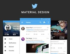 """How Twitter for web and Android could be if following Material Design Guidelines.I'm on a rehab to stop designing concepts of blue products.  - __ -"""""""
