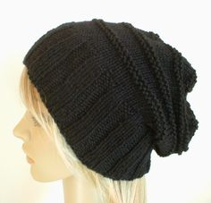 Hand knit slouchy hat wide band in black wool by baboom on Etsy, $47.50