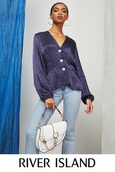 Women's new clothes from River Island - get this season's latest arrivals from your favourite high street store. Shop the full collection online. New Outfits, Spring Outfits, Bell Sleeve Top, Blouses, Navy, Womens Fashion, Shopping, Collection, Tops