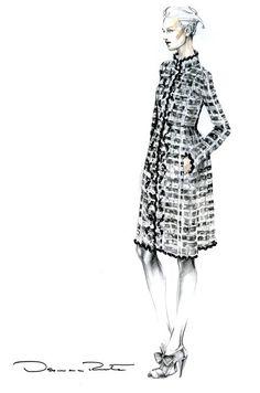 Fashion illustration of a model in an Oscar de la Renta coat; fashion design sketch