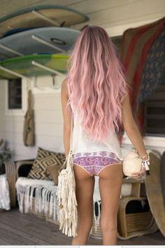 boho chic bikini bottoms modern hippie pink hair. For the BEST in Bohemian fashion trends FOLLOW http://www.pinterest.com/happygolicky/the-best-boho-chic-fashion-bohemian-jewelry-gypsy-/