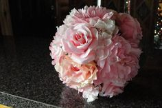 Wedding Bouquet Pink Mixed Silk Flowers by AbbiesFlowers on Etsy