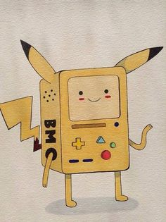 BMO of adventure time cross with pikachu off pokemon