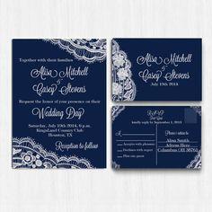 Hey, I found this really awesome Etsy listing at https://www.etsy.com/au/listing/222246987/digital-lace-wedding-invitation-set-navy