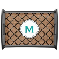 Black Quatrefoil on Rustic Burlap – Teal Monogram Food Trays