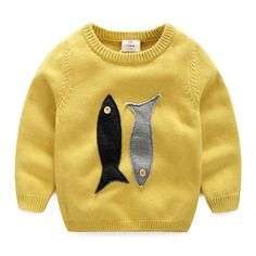 Check out my new Cute Appliqued Baby Fish Knit Sweater for Toddler Boy and Boy, snagged at a crazy discounted price with the PatPat app. Sweaters And Leggings, Warm Sweaters, Pullover Sweaters, Toddler Cardigan, Baby Boy Sweater, Cartoon Fish, Baby Fish, Cartoon Outfits, Yellow Sweater