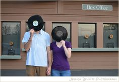 Engagement photography idea: Fun with records for music lovers! #engagement #photography #vinyls #music