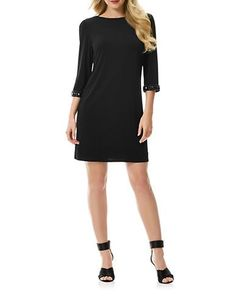 Laundry By Shelli Segal Beaded Cuff Shift Dress Women's Black 2
