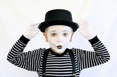 "This one was a blast for us. Elliott loved pretending to be a mime! He  actually got pretty good at the whole ""walking down the stairs"" bit. He  loved this so much, he tried to change his halloween costume to be this. We  debated back and forth and finally settled on him being a mime for one of  the parties we are going to. Ah, parenthood. It's all about compromises!  This costume is seriously so easy to throw together. We got the hat, face  paints and gloves from the party store and ..."
