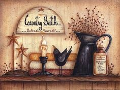 mary ann june pictures | Mary Ann June - Country Bath - art prints and posters